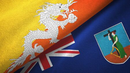 Bhutan and Montserrat two folded flags together