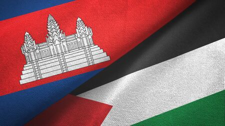 Cambodia and Palestine two folded flags together
