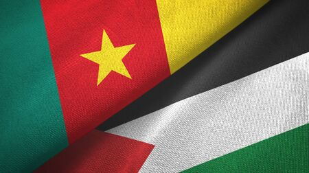 Cameroon and Palestine two folded flags together 스톡 콘텐츠