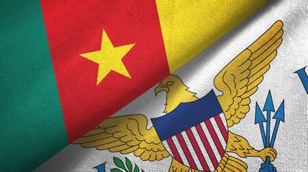 Cameroon and Virgin Islands United States two folded flags together 스톡 콘텐츠
