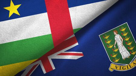Central African Republic and Virgin Islands British two folded flags together 스톡 콘텐츠