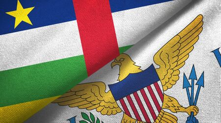Central African Republic and Virgin Islands United States two folded flags together 스톡 콘텐츠