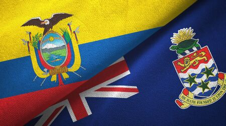 Ecuador and Cayman Islands two folded flags together Stock Photo