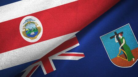 Costa Rica and Montserrat two folded flags together Stock Photo