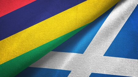Mauritius and Scotland two folded flags together