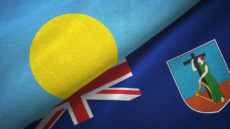 Palau and Montserrat two folded flags together Stock Photo