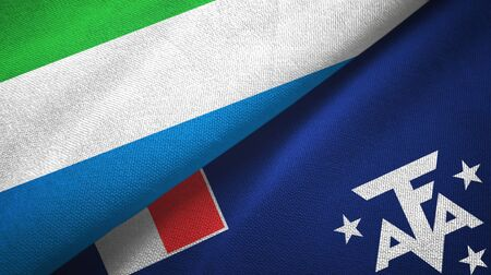 Sierra Leone and French Southern and Antarctic Lands two folded flags together Zdjęcie Seryjne