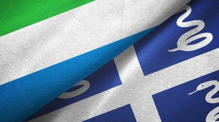Sierra Leone and Martinique snake two folded flags together