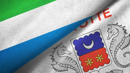 Sierra Leone and Mayotte two folded flags together
