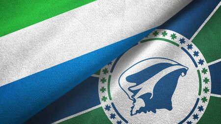 Sierra Leone and Martinique two folded flags together