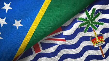 Solomon Islands and British Indian Territory two folded flags together