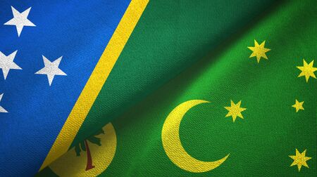 Solomon Islands and Cocos Keeling Islands two folded flags together