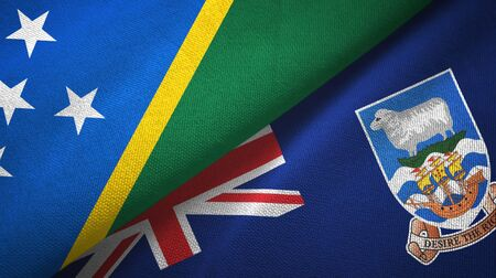 Solomon Islands and Falkland Islands two folded flags together