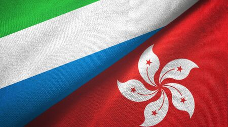 Sierra Leone and Hong Kong two folded flags together