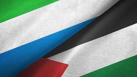 Sierra Leone and Palestine two folded flags together