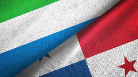 Sierra Leone and Panama two folded flags together