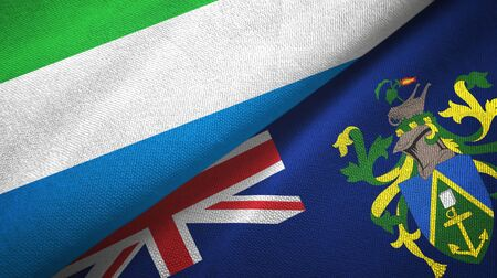 Sierra Leone and Pitcairn Islands two folded flags together