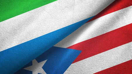 Sierra Leone and Puerto Rico two folded flags together