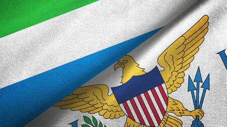 Sierra Leone and Virgin Islands United States two folded flags together