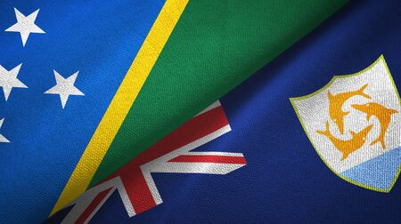 Solomon Islands and Anguilla two folded flags together