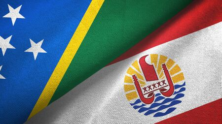 Solomon Islands and French Polynesia two folded flags together