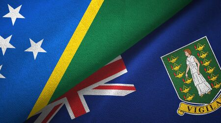 Solomon Islands and Virgin Islands British two folded flags together