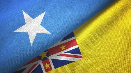 Somalia and Niue two folded flags together