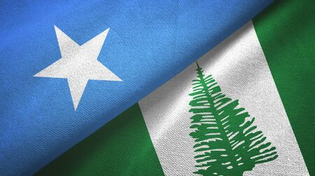 Somalia and Norfolk Island two folded flags together