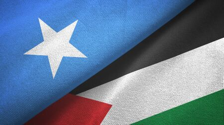 Somalia and Palestine two folded flags together