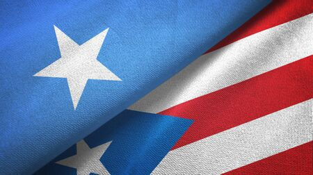 Somalia and Puerto Rico two folded flags together