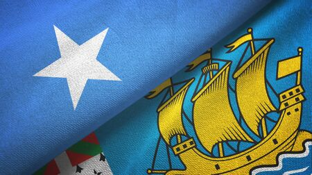 Somalia and Saint Pierre and Miquelon two folded flags together Zdjęcie Seryjne