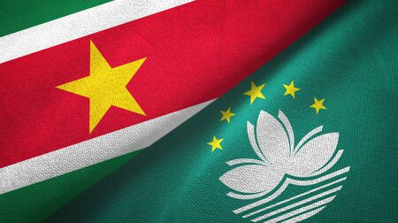 Suriname and Macau two folded flags together