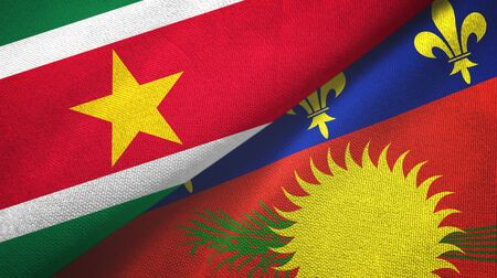 Suriname and Guadeloupe two folded flags together