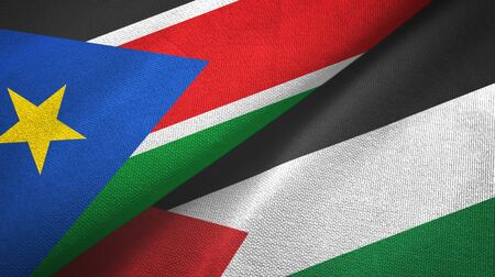 South Sudan and Palestine two folded flags together Zdjęcie Seryjne