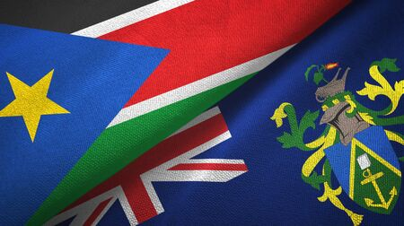 South Sudan and Pitcairn Islands two folded flags together