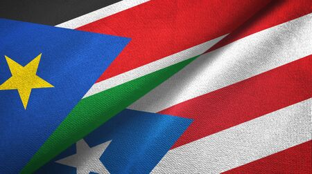 South Sudan and Puerto Rico two folded flags together