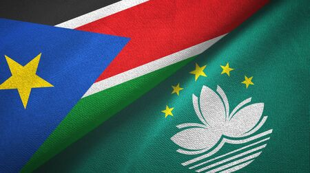 South Sudan and Macau two folded flags together