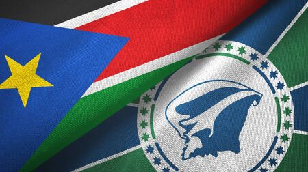 South Sudan and Martinique two folded flags together