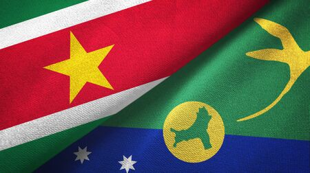 Suriname and Christmas Island two folded flags together