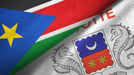 South Sudan and Mayotte two folded flags together