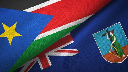 South Sudan and Montserrat two folded flags together