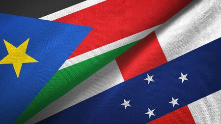 South Sudan and Netherlands Antilles two folded flags together Zdjęcie Seryjne