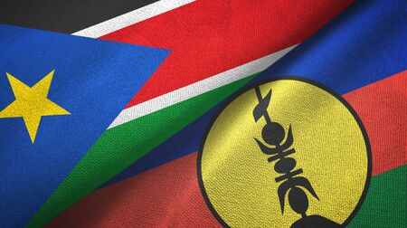 South Sudan and New Caledonia two folded flags together