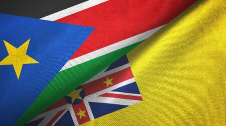 South Sudan and Niue two folded flags together