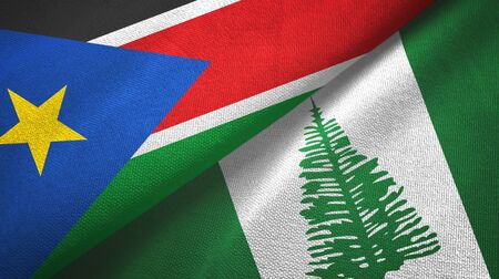 South Sudan and Norfolk Island two folded flags together