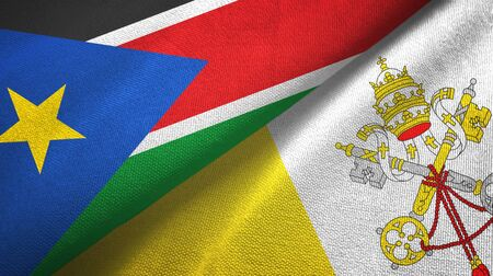 South Sudan and Vatican two folded flags together