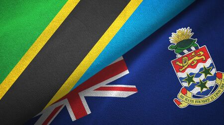Tanzania and Cayman Islands two folded flags together Stock Photo