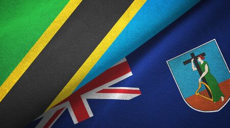 Tanzania and Montserrat two folded flags together