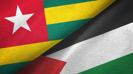 Togo and Palestine two folded flags together 스톡 콘텐츠