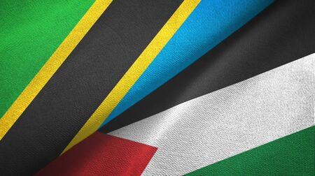 Tanzania and Palestine two folded flags together 스톡 콘텐츠